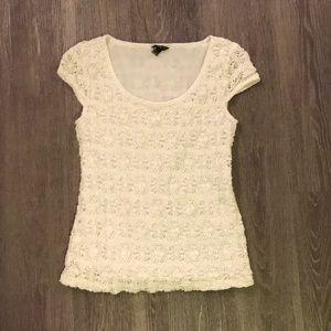 Ann Taylor x small petite white floral blouse